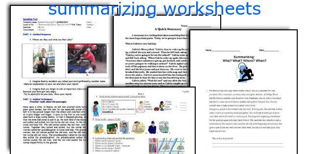 summarizing worksheets