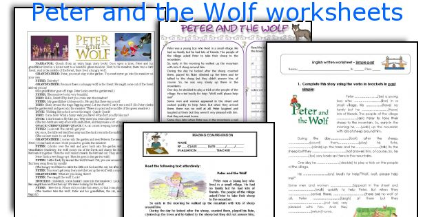 Peter and the Wolf worksheets