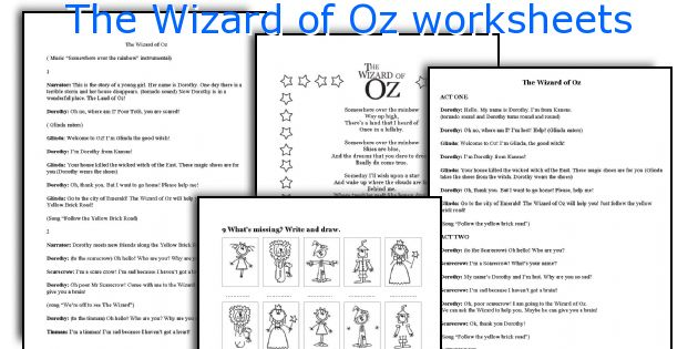 The Wizard of Oz worksheets