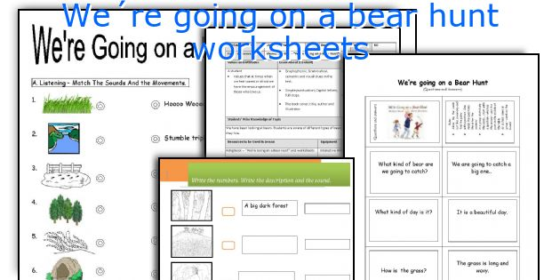 we180re going on a bear hunt worksheets