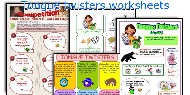 Tongue twisters worksheets