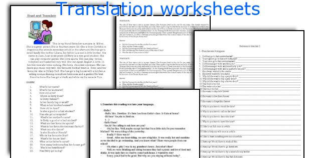 Translation worksheets