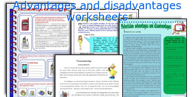 Advantages and disadvantages worksheets