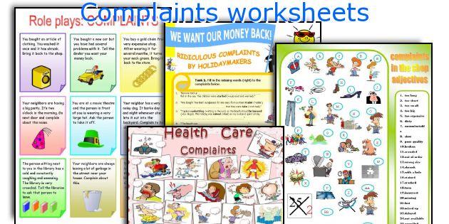 Complaints worksheets