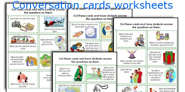 Conversation cards worksheets