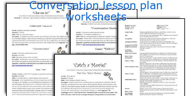 Conversation lesson plan worksheets