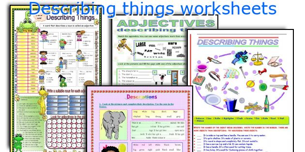 Describing things worksheets