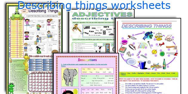 Describing things worksheets