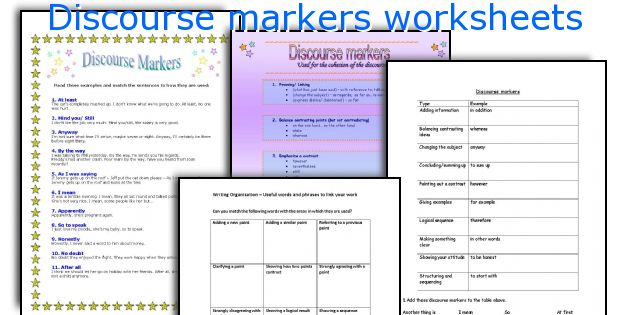 Discourse markers worksheets
