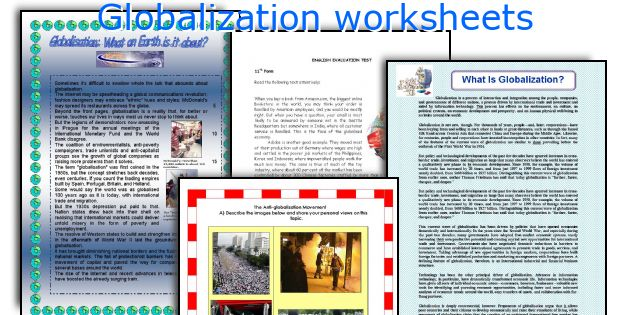 Globalization worksheets