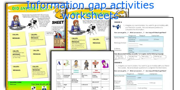 Information gap activities worksheets