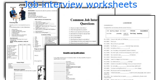 Job interview worksheets