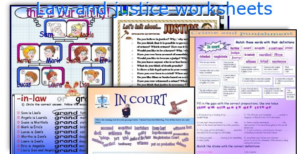 Law and justice worksheets
