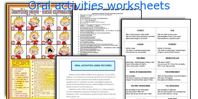 Oral activities worksheets
