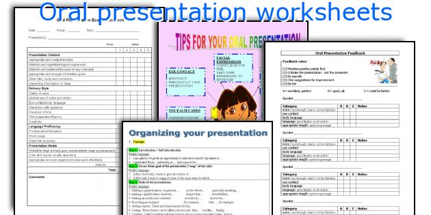 Oral presentation worksheets