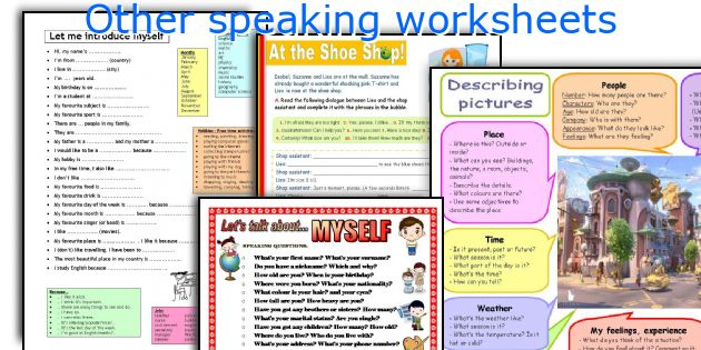 Other speaking worksheets