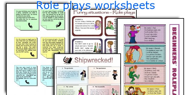 Role plays worksheets