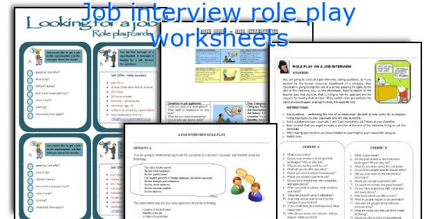 Job interview role play worksheets