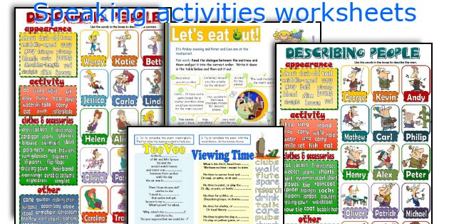 Speaking activities worksheets