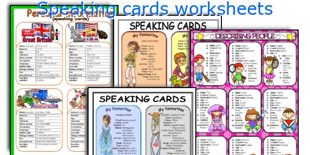 Speaking cards worksheets