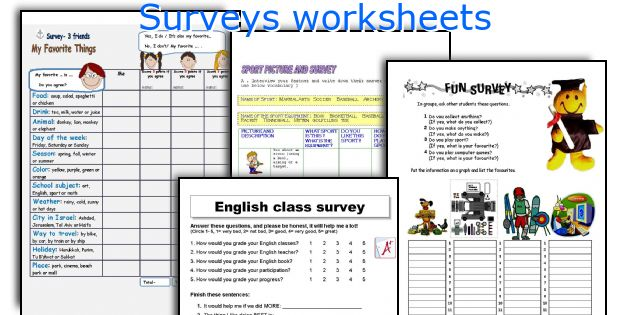 Surveys worksheets