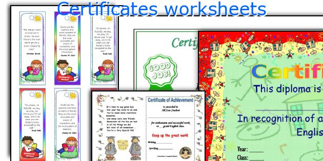 Certificates worksheets