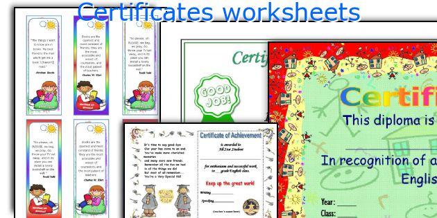Certificates worksheets