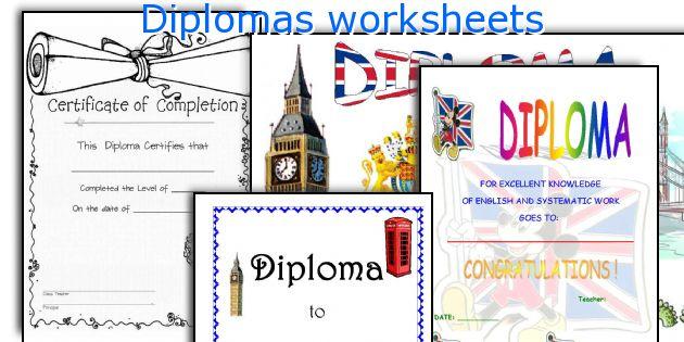 Diplomas worksheets