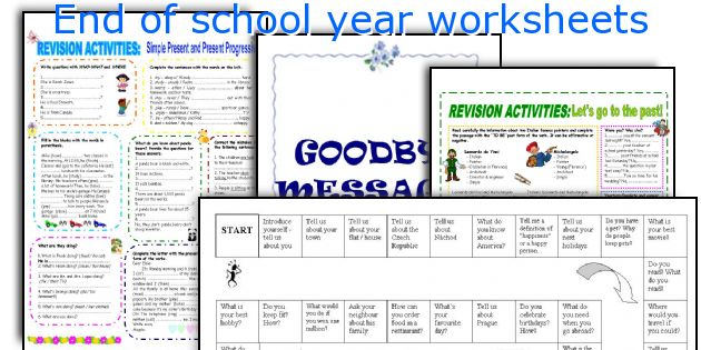 English Teaching Worksheets End Of School Year