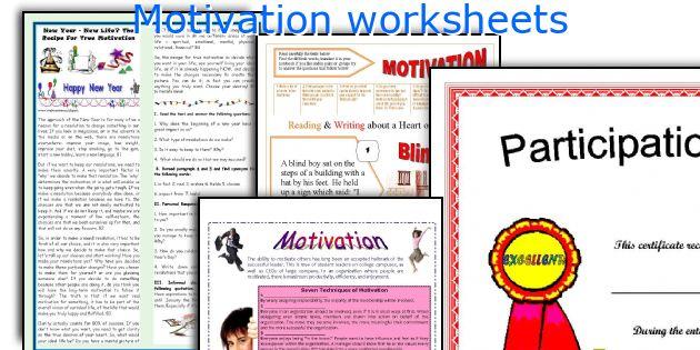 Motivation worksheets