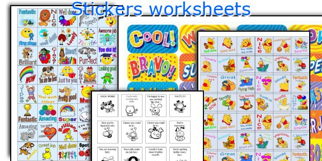Stickers worksheets