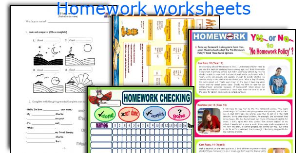 Homework worksheets