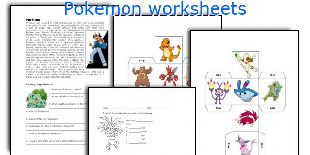 Pokemon worksheets