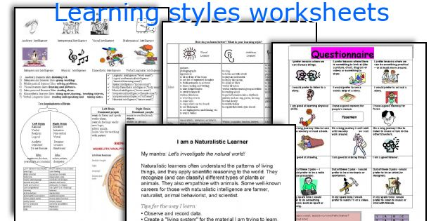 Learning styles worksheets