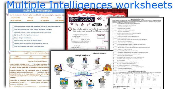 English teaching worksheets Multiple Intelligences – Multiple Intelligence Worksheet