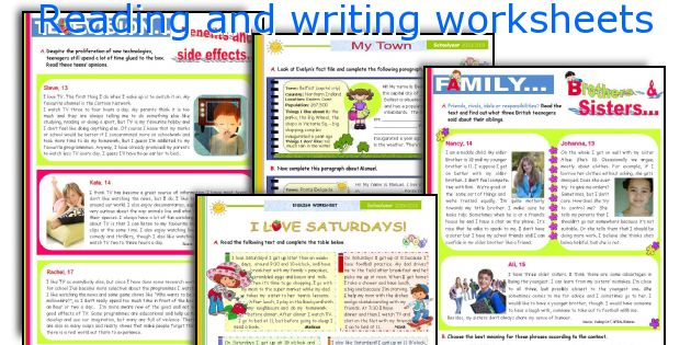 Reading and writing worksheets
