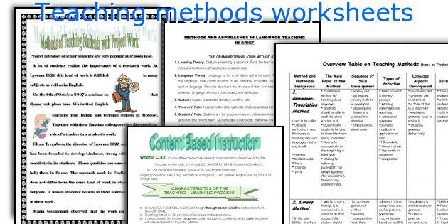 Teaching methods worksheets