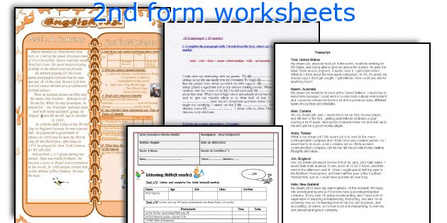 2nd form worksheets