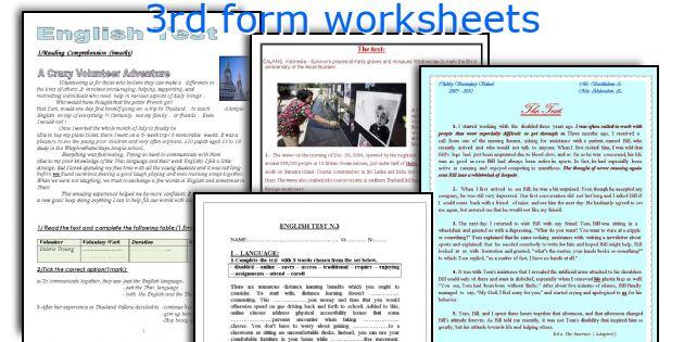 3rd form worksheets