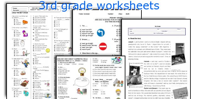 English teaching worksheets: 3rd grade