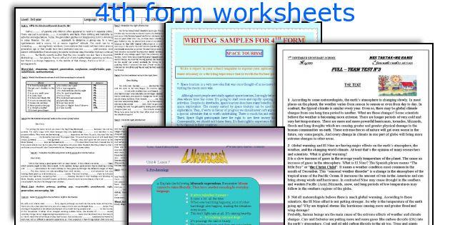 4th form worksheets
