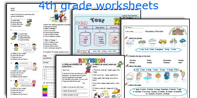English teaching worksheets: 4th grade