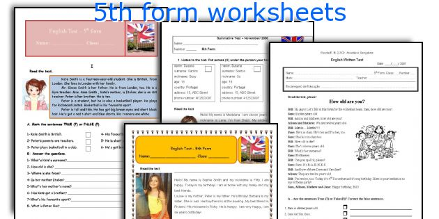 5th form worksheets
