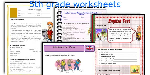 5th grade worksheets