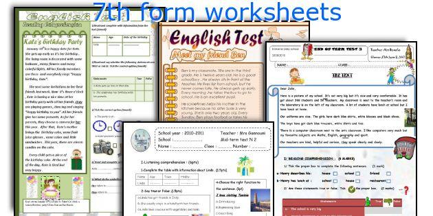 7th form worksheets