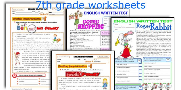 Free worksheets 7th grade