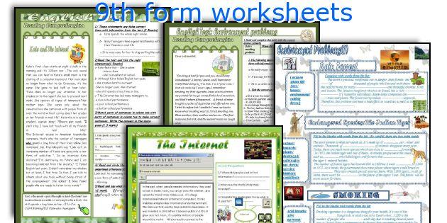 9th form worksheets
