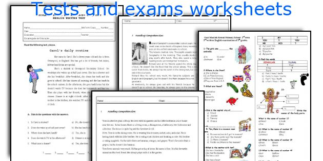 Tests and exams worksheets