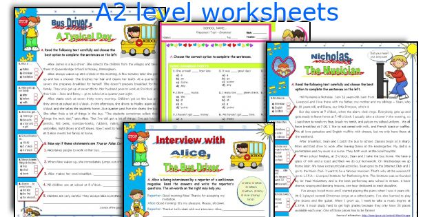 A2 level worksheets