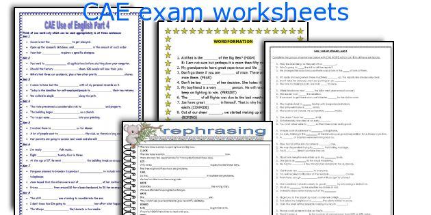 CAE exam worksheets